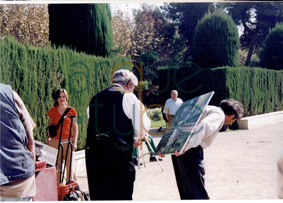 Rusiñol  con su amigo Carles Casagemas aparece en nuestra época pintando el estanque
